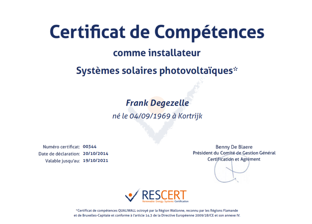 Certificat de compétences